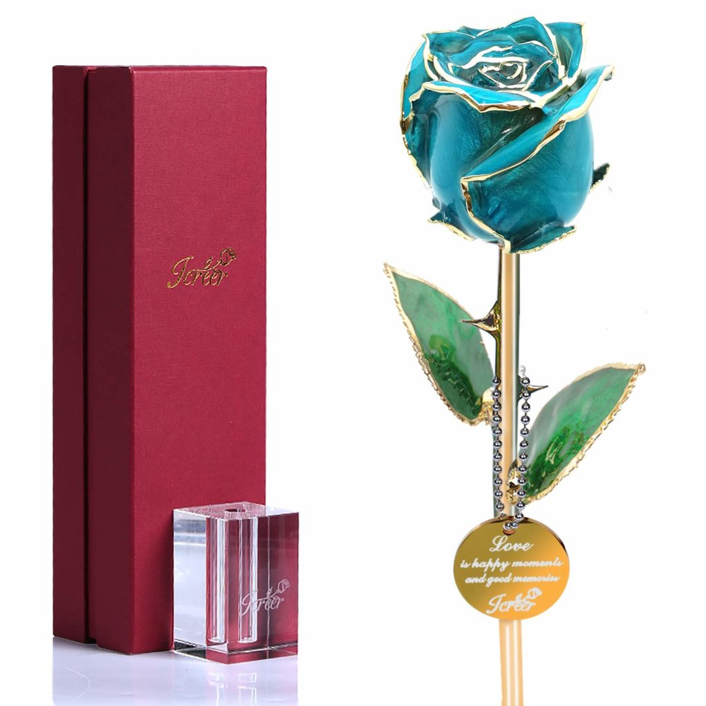 Icreer Gold Dipped Blue Rose Flower Gifts for Anniversary