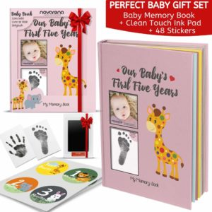 Novarena First 5 Years Baby Memory Book with 48 Pack Monthly Milestones Stickers