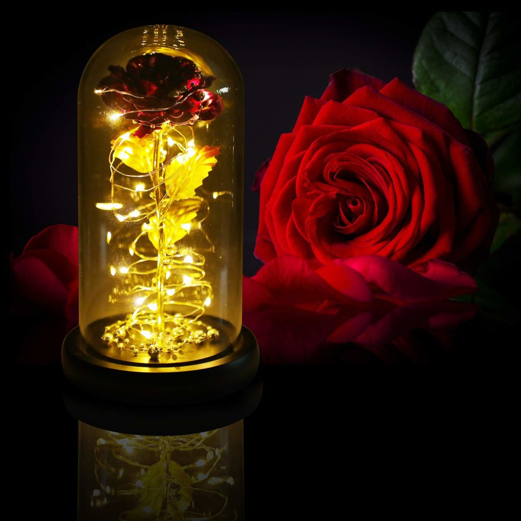 LED Rose Flower in Glass Dome