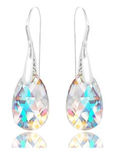 Royal Crystals 925 Sterling Silver Earrings Made with Swarovski Crystals Blue Aurora Borealis Drop Dangle Hook
