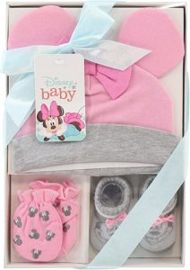 Disney Baby Girls Minnie Mouse Hat, Mitts and Socks Take Me Home Gift Set
