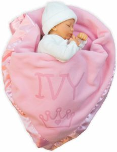 Custom Catch Princess Baby Blanket for Girls - Toddler Girl Crib Bedding, Receiving Blankets
