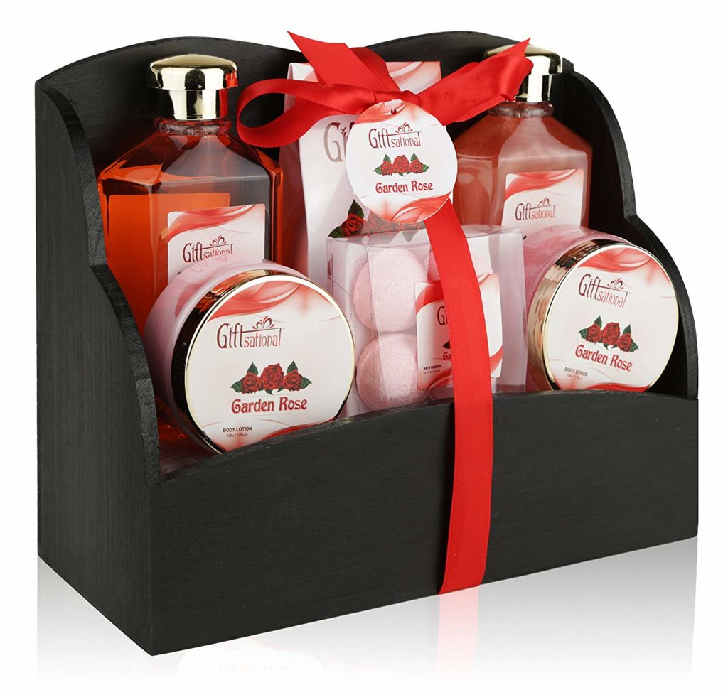 Spa Gift Basket with Heavenly Garden Rose fragrance