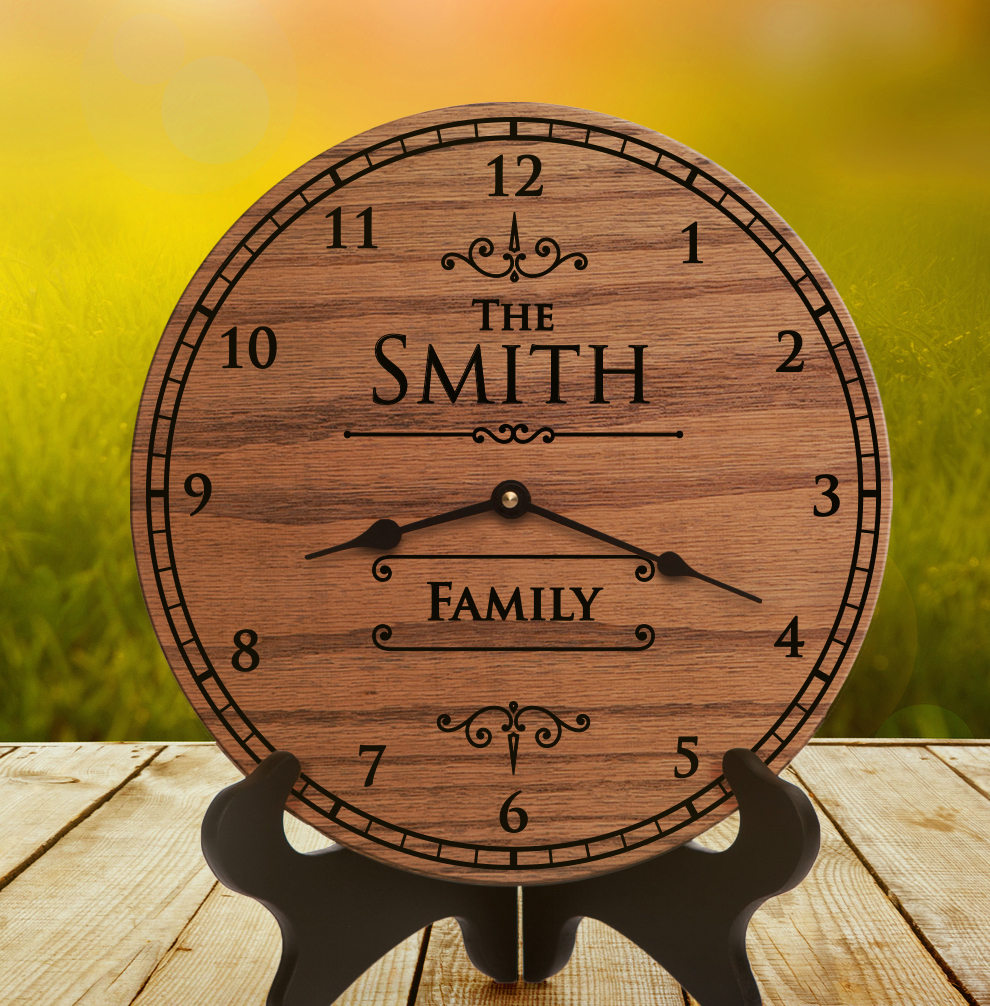 personalized oak clock