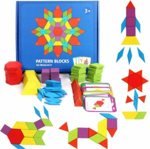 GEMEM 155 Pcs Wooden Pattern Blocks Set Geometric