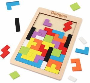 Coogam Wooden Tetris Puzzle Brain Teasers Toy Tangram Jigsaw