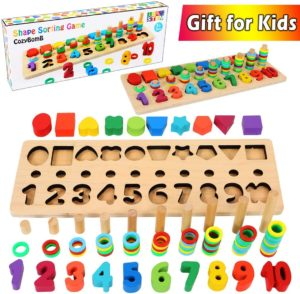 CozyBomB Wooden Number Puzzle Sorting Montessori Toys for Toddlers