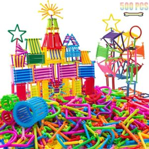 AveryLu 500 PCS Building Toy Building Blocks Bars Different Shape Educational