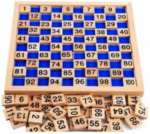 Amberetech Wooden Toys Hundred Board Montessori 1-100 Consecutive Numbers Wooden Educational Game for Kids