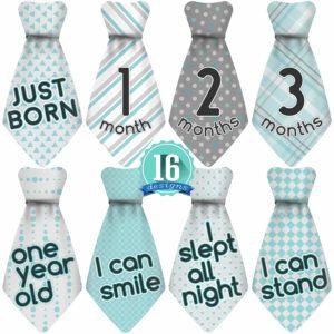 Original Stick'Nsnap (TM) 16 Baby Monthly Necktie Onesie Stickers